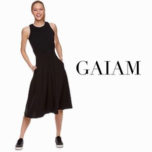 Gaiam size L black racer back fit and flare dress with bra cups and pockets